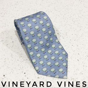 Vineyard Vines Blue Money Tree Custom Silk Tie EUC